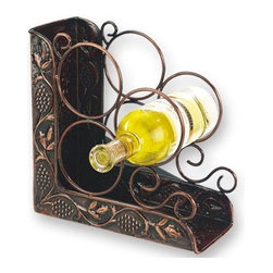 Old Dutch International - Heritage Wine Rack Cum Bookend - 3 bottle storage. Antique embossed. Made from Iron. Copper finish. No assembly required. 10.25 in. L x 5 in. W x 10.25 in. H (7 lbs.)
