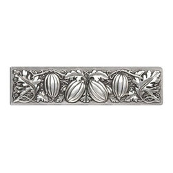 """Inviting Home - Autumn Squash Pull (brilliant pewter) - Hand-cast Autumn Squash Pull in brilliant pewter finish; 4-7/8""""W x 1-1/4""""H; Product Specification: Made in the USA. Fine-art foundry hand-pours and hand finished hardware knobs and pulls using Old World methods. Lifetime guaranteed against flaws in craftsmanship. Exceptional clarity of details and depth of relief. All knobs and pulls are hand cast from solid fine pewter or solid bronze. The term antique refers to special methods of treating metal so there is contrast between relief and recessed areas. Knobs and Pulls are lacquered to protect the finish. Alternate finishes are available."""