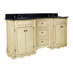 """Hardware Resources - Lyn Design VAN014D-72-T - This 74-1/4"""" wide MDF elliptical vanity is accented with reed columns and simple carvings. The buttercream finish with antique crackle is created by hand, making each vanity unique. Two large cabinets and three center drawers equipped with full extension slides provide ample storage. This vanity has a 2CM black granite top preassembled with two H8809WH (15"""" x 12"""") bowl, cut for 8"""" faucet spread, and corresponding 2CM x 4"""" tall backsplash. Overall Measurements: 74-1/4"""" x 23-1/4"""" x 35-3/4"""" (measurements taken from the widest point)"""