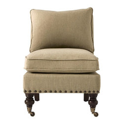 Home Decorators Collection - Harrison Armless Chair with Nailheads - Our Harrison Armless Chair is the perfect finishing touch. This plush, upholstered piece is trimmed along the bottom with decorative nailheads. The elaborately turned front legs and thick, tapered back legs are crafted of solid wood with a dark brown finish. Thick seat and back cushions provide sumptuous support. Your choice of upholstery. Armless design creates an open yet cozy feel.
