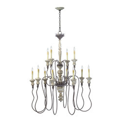 Kathy Kuo Home - Provence French Country White and Gray Wash 12 Light Chandelier - Wood accents and delicately curved lines of the Provence chandelier bring to mind easy afternoons in the French countryside.  Winding curves and decorative ornaments mixed with wooden drops and a delicate ornamental chain captures the spirit of hand crafted craftsmanship in an old world feel.