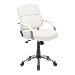 ZUO MODERN - Director Relax Office Chair White - This chair has a leatherette wrapped seat and back cushions with an epoxy coated solid steel arms with leatherette pads. There is a height and tilt adjustment with a an epoxy coated steel rolling base.
