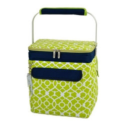 Picnic at Ascot - Picnic at Ascot Multipurpose Cooler, Trellis Green - Our Multi Purpose Cooler - 24 Cans in Trellis Green by Picnic at Ascot is a unique collapsible Thermal Shield insulated beverage cooler along with a clip-on waiters corkscrew . Its multi functional fits 6 bottles of wine, 12 bottles of beer, or 24 cans.