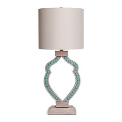 Limed Wood Turquoise Cabochon Table Lamp
