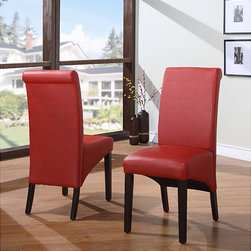 Domusindo - Sleigh Back Red Parsons Chair (Set of 2) - Update your home decor with this set of two dining chairs. These Spectrum dining chairs feature synthetic leather and solid wood construction.