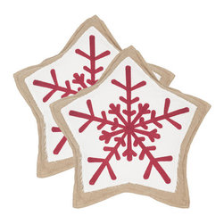 Safavieh - Decorative Snowflake Cookie Pillows, Red and White, Set of 2 - Remember the cookies and milk you left for Santas visit Now he can snuggle up to a pretty set of two red and white Snowflake Cookie pillows. The fabric for this design is made from sustainable jute fiber for a naturally beautiful holiday look.
