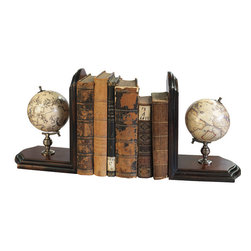 "Inviting Home - Globe Bookends - Mookends with matching celestial and terrestrial globe 5-1/8""x 9-3/4""x 14-3/8""H As a scientific symbol our globe bookends add a touch of distinction to home and office. Matching celestial and terrestrial globes dating back to the 16th C. Bookends have bronze mountings and antique French finished stands."