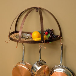 Rogar - The Gourmet Half Dome Pot Rack with Grid - 3915 - Shop for Pot Racks from Hayneedle.com! The Gourmet Half Dome Pot Rack with Grid provides a three-dimensional visual element plus the storage space you need for functional decor in your kitchen. Made from powder-coated steel this pot rack is durable and attractive as it comes in a variety of eight finish combinations. It includes five regular pot hooks and two grid hooks while the metal hanging grid doubles as a handy shelf. Assembly is simple with the included hanging instructions. Additional hooks can be purchased separately. This pot rack comes in your choice of finish options. Dimensions: 22.25W x 11D x 12H inches.About Rogar InternationalRogar was founded in Abilene Texas in 1975. The goal then as now was to design manufacture and market top-quality products. By focusing on fine craftsmanship unique products and innovative packaging Rogar has become a leader in the sales of antique-style wine openers hanging and wall-mounted pot racks and other fine products.