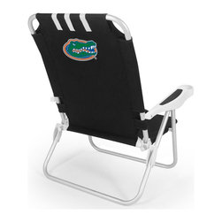"Picnic Time - University of Florida Monaco Beach Chair Black - The Monaco Beach Chair is the lightweight, portable chair that provides comfortable seating on the go. It features a 34"" reclining seat back with a 19.5"" seat, and sits 11"" off the ground. Made of durable polyester on an aluminum frame, the Monaco Beach Chair features six chair back positions and an integrated cup holder in the armrest. Convenient backpack straps free your hands so you can carry other items to your destination. Rest and relaxation come easy in the Monaco Beach Chair!; College Name: University of Florida; Mascot: Gators; Decoration: Digital Print"