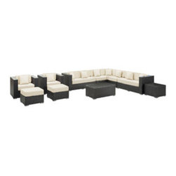 """LexMod - Cohesion 11 Piece Outdoor Patio Sectional Set in Espresso White - Cohesion 11 Piece Outdoor Patio Sectional Set in Espresso White - Preside steadfastly at each assembly as concurrent movements take you forward. The Cohesion Outdoor Sectional Set brings you to a place of carefully considered output and restorative order. Embrace a homeostatic system where precise handiwork help you attain true collectivity. Set Includes: Nine - Cohesion Outdoor Wicker Patio Throw Pillows One - Cohesion Outdoor Wicker Patio Coffee Table One - Cohesion Outdoor Wicker Patio Coffee Table Cushion One - Cohesion Outdoor Wicker Patio Corner Section One - Cohesion Outdoor Wicker Patio Left Arm Section One - Cohesion Outdoor Wicker Patio Right Arm Sections One - Cohesion Outdoor Wicker Patio Side Table Two - Cohesion Outdoor Wicker Patio Armchairs Two - Cohesion Outdoor Wicker Patio Armless Sections Two - Cohesion Outdoor Wicker Patio Ottomans Synthetic Rattan Weave, Powder Coated Aluminum Frame, Water & UV Resistant, Machine Washable Cushion Covers, Easy To Clean Tempered Glass Top, Ships Pre-Assembled Armchair Dimensions: 38""""L x 33""""W x 30""""H Side Table Dimensions: 24""""L x 24""""W x 18""""H Coffee Table Dimensions: 43""""L x 23.5""""W x 18""""H Ottoman Dimensions: 25.5""""L x 25.5""""W x 12.5""""H Corner Section Dimensions: 33""""L x 33""""W x 30""""H Armless Section Dimensions: 28""""L x 33""""W x 30""""H Left Arm Section Dimensions: 61""""L x 33""""W x 30""""H Right Arm Section Dimensions: 61""""L x 33""""W x 30""""H Seat Height: 12.5""""HBACKrest Height: 17""""H Armrest Dimensions: 6""""W x 17""""H Cushion Depth: 4 - 6""""H Overall Product Dimensions: 160""""L x 122""""W x 30""""H - Mid Century Modern Furniture."""