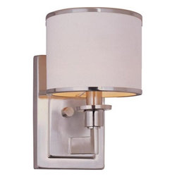 Maxim Lighting International - Nexus Satin Nickel One-Light Wall Sconce - The Nexus Collection is the true standard for contemporary lighting. The flat rectangular tube arm forms to a perfect angle and comes finished in choice of Satin Nickel or Oil Rubbed bronze. The White fabric drum shade is trimmed with metal rings in matching finish for a clean, tailored look. Maxim Lighting International - 12059WTSN