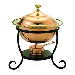 Old Dutch International - 10 in. Round Decor Copper Chafing Dish - Includes wrought iron stand. Copper plated. Made from steel. Copper finish. 10 in. dia. x 13.50 in. H (4 lbs.)3 Qt. round decor copper chafing dish. 3 Qt. Stainless steel food pan is oven safe to 350F, water-bath design keeps food at the perfect serving temperature without drying out. Chafing dish features brass knob and accented rim.