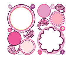 """RoomMates Peel & Stick - Paisley Dry Erase Wall Decals - Add a splash of color and a unique messaging center to any flat surface with these perky paisley wall decals. Application is easy: simply peel and stick. In this set we've included not only girlish paisley prints and some blooming flowers, but also dots with a genuine dry erase surface. Add a message board to any wall simply by applying one of the dots! Each pack includes a dry erase pen so you can get started right away. A great coordinate with our paisley wall decals or mix-and-match with our flower stripes for a great """"pop"""" of color on your walls!"""