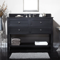 """48"""" Taren Vanity - Undermount Sink - 8"""" Faucet Holes - 3/4"""" Black - Enjoy more storage and add instant style with 48"""" Taren Vanity with Undermount Sink, featuring two functional drawers and a spacious lower shelf."""