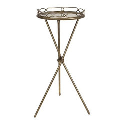 iMax - Aniston Round Tray Table - Need a great accent table? Aniston round tray table's small size and decorative bronze finish make it ideal.