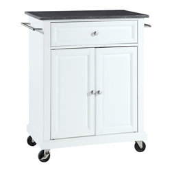 Crosley - Solid Black Granite Top Portable Kitchen Cart/Island in White Finish - Constructed of solid hardwood and wood veneers, this kitchen island is designed for longevity. The beautiful raised panel doors and drawer front provide the ultimate in style to dress up your kitchen. The deep drawer are great for anything from utensils to storage containers. Behind the two doors, you will find an adjustable shelf and an abundance of storage space for things that you prefer to be out of sight. Style, function, and quality make this kitchen island a wise addition to your home.