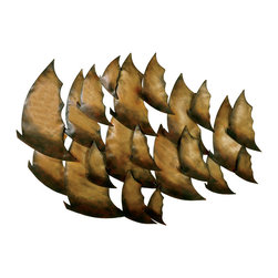 Welcome Home Accents - TROPICAL FISH METAL WALL ART - Beautiful metal artwork resembles a school of fish.  Distressed metal finish in aged gold and browns.  Hooks on back for easy hanging.