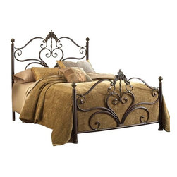 Hillsdale Furniture - Hillsdale Newton Metal Bed in Antiqued Brown - Queen - With a beautiful mix of delicate scrollwork, large ornate castings, and classic ball finials the Newton bed is a symphony of design. An antique brown highlight finish adds depth to feminine grandeur of this bed. While the large Victorian casting draws your eye to the gentle scrollwork of the headboard and footboard, the large ball finials atop the post add classic appeal. Constructed of heavy gauge tubular steel.
