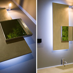 SOTTOQUADRO mirror - Right or left polished edge mirror with satin stainless steel frame complete with lacquered or wooden panel and led lighting.