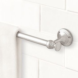 """Mercer Towel Bar, 18"""", Chrome finish - Part of our most popular bath collection, the Mercer Towel Bar is available in a choice of four beautiful finishes, so you can give the whole bath a coordinated look.Crafted of drop-forged brass, then thickly plated for strength.See available finishes below.Sealed with a clear protective lacquer.Mounting hardware included. View our {{link path='pages/popups/fb-bath.html' class='popup' width='480' height='300'}}Furniture Brochure{{/link}}."""