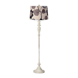 Lamps Plus - Clover Flower Shade Vintage Chic Antique White Floor Lamp - A beautiful tan drum shade with clover flower pattern in taupe, gray, and black makes a stylish statement on the top of this antique white floor lamp. This stylish resin and metal floor lamp will bring a sense of stylish sophistication to your decor. It comes in an antique white finish for an elegant aged look. The design is topped with a stylish tan drum shade with clover flower pattern in taupe, gray, and black.