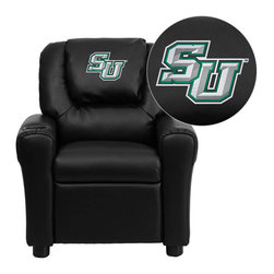 """Flash Furniture - Stetson University Hatters Black Leather Kids Recliner with Cup Holder and Headr - Get young kids in the college spirit with this embroidered college recliner. Kids will now be able to enjoy the comfort that adults experience with a comfortable recliner that was made just for them! This chair features a strong wood frame with soft foam and then enveloped in durable leather upholstery for your active child. This petite sized recliner is highlighted with a cup holder in the arm to rest their drink during their favorite show or while reading a book. Stetson University Embroidered Kids Recliner; Embroidered Applique on Oversized Headrest; Overstuffed Padding for Comfort; Easy to Clean Upholstery with Damp Cloth; Cup Holder in armrest; Solid Hardwood Frame; Raised Black Plastic Feet; Intended use for Children Ages 3-9; 90 lb. Weight Limit; CA117 Fire Retardant Foam; Black LeatherSoft Upholstery; LeatherSoft is leather and polyurethane for added Softness and Durability; Safety Feature: Will not recline unless child is in seated position and pulls ottoman 1"""" out and then reclines; Safety Feature: Will not recline unless child is in seated position and pulls ottoman 1"""" out and then reclines; Overall dimensions: 24""""W x 21.5"""" - 36.5""""D x 27""""H"""