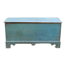 EcoFirstArt - An 18th/19th Century American Blue Painted Trunk - Cerulean blue is a perfectly pleasing hue for your decor, and this rustic trunk features it in such an elegant way. Crafted to mirror an early-American chest, this sustainable wood trunk opens to reveal ample storage, making it an elegant bed bench or decorative chest for your living room.