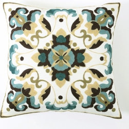 """Best Home Fashions - Floral Pattern Embroidered Pillow Covers 18"""""""" x 18"""""""" Pair - Blue - Ornate floral pattern embroidered pillow adds texture and color to your home decor"""