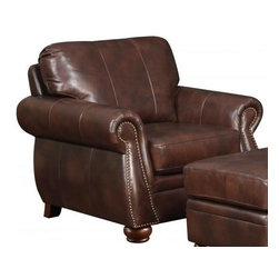 """At Home Designs - Monterey Chair in Natural Brown - With rich, deep brown hues and a supple, textured feel the Monterey is an alluring family room set with styling that easily crosses over to the living room. French welt accents and elongated stitching down the back cushions add aesthetic appeal while the decorative rolled-arms with brass-toned nail head trim wrap you in comfort. Our signature hard wood construction with pocketed coil seating provides a supportive and comfortable sit. Finished with 100% Top Grain leather, hand-turned wood legs, removable back cushions and brass-toned nail head trim the Monterey 4 piece set will breathe warmth and luxury into your home.; 100 % Top Grain leather G�� deep Plantation brown G�� on all seating surfaces; Beautiful leather-match on outside back and outside arms; French welt accents; Distinctive elongated stitch pattern on back cushions; Back cushions removable; Sturdy hardwood/plywood construction with sturdy joints and corner blocks; Pocketed coil seating for longevity and comfort; Hand-turned, all wood legs; Brass-toned nail head trim; Arm height: 25.5""""; Dimensions:21.5""""H x 22""""W x 20.5"""