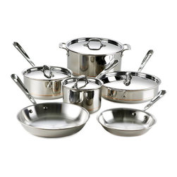 All-Clad - All-Clad Copper-Core 10 Piece Cookware Set (600822-SS) - This All-Clad Copper-Core 10 piece cookware set includes the following items: 8 inch fry pan, 10 inch fry pan, 2 quart sauce pan with lid, 3 quart sauce pan with lid, 3 quart saute pan with lid, 8 quart stock pot with lid. The most practical option when looking for basic cookware shapes. Most fundamental day-to-day cooking can be accomplished with these All-Clad set pieces. Lifetime warranty from All-Clad with normal use and proper care. Made in the USA!