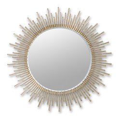 Kathy Kuo Home - Aruba Sunburst Antique Brass Hollywood Regency Round Mirror - Beautifully bold, the hand-forged iron spikes of this round mirror's frame form a burst of luminous light. The oversized beveled glass is encircled with shimmering spikes for a sunny, empowering effect, reflecting light and enlarging any hallway or room.