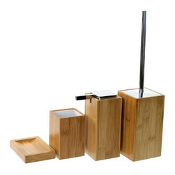 Gedy - Wooden 4 Piece Bamboo Bathroom Accessory Set - Trendy bamboo bathroom accessory set made from wood.