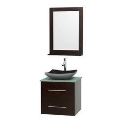 """Wyndham Collection - Centra 24"""" Espresso Single Vanity, Green Glass Top, Altair Black Granite Sink - Simplicity and elegance combine in the perfect lines of the Centra vanity by the Wyndham Collection. If cutting-edge contemporary design is your style then the Centra vanity is for you - modern, chic and built to last a lifetime. Available with green glass, pure white man-made stone, ivory marble or white carrera marble counters, with stunning vessel or undermount sink(s) and matching mirror(s). Featuring soft close door hinges, drawer glides, and meticulously finished with brushed chrome hardware. The attention to detail on this beautiful vanity is second to none."""