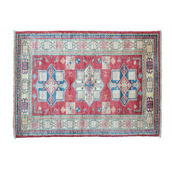 Oriental Rug, Geometric Fine Kazak 3'X4' 100% Wool Hand Knotted Rug SH11376 - This collections consists of well known classical southwestern designs like Kazaks, Serapis, Herizs, Mamluks, Kilims, and Bokaras. These tribal motifs are very popular down in the South and especially out west.