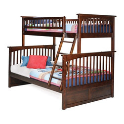 Atlantic Furniture - Columbia Twin Over Full Bunk Bed in Antique W - Comes with a slat kit for mattress support. Includes two 14 pieces engineered hardwood slat kits. Made of premium, eco-friendly hardwood with a 5-step finishing process. Solid hardwood Mortise & Tenon construction. 26-Steel reinforcement points. Designed for durability. Guard rails match panel design. Meet or exceed all ASTM bunk bed standards, which require the upper bunk to support 400 lbs.. Clearance from floor without trundle or storage drawers: 11.25 in.. 80.5 in. L x 58.38 in. W x 68.13 in. H. Optional flat panel drawers: 74 in. L x 22 in. W x 12 in. H. Optional raised panel drawers: 74 in. L x 24.38 in. W x 12 in. H. Optional raised panel trundle: 74.75 in. L x 40.38 in. W x 11.63 in. H. Bunk Bed Warning. Please read before purchaseThe Columbia bunk bed features a classic Mission style design with subtle curves and solid post construction.