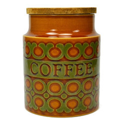 Hornsea England Bronte on base - Consigned Ceramic Coffee Kitchen Storage Jar by Hornsea, Vintage English, 1970s - Glazed porcelain coffee kitchen storage jar with wooden lid, by Hornsea, vintage English.This is a vintage One of a Kind item. Some wear and imperfections are to be expected, as described.