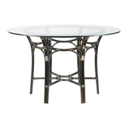 "Selamat - Selamat Taylor 48"" Dining Table Base with Glass Top-Clove - Inspired by Japanese gothic details, make up elements of the Taylor Dining Table. Accommodate up to six people and serve a range of more intimate dining needs. Leather wrapped rattan pole with 1/2"" thick onset tempered glass top."