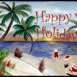 usa - Santas Beach Break Rug, 36x60 - Durable 20 0z. tight loop carpet with non skid rubber backing and a black edge binding. My art images are permanently applied by dye sublimation and wash with mild soap and water. Rugs are approx. 3/8 inch thick.