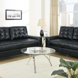 European Tuft Black Leather Sofa Couch Loveseat Living Room Poundex - Set the standard and make a home décor statement with this living room sofa set in bonded leather. It's sharp design of accent tufting on the backrest, seat cushions and armrest gives it a ultra contemporary style. Its frame is supported by short silver plated legs with flat circular ends.