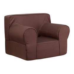 Flash Furniture - Flash Furniture Children's Chairs Kids Large Chairs X-GG-NRB-DILOS-DIK-HC-EGL-GD - This comfy foam chair is a fun piece of furniture for children to enjoy for reading and relaxing. The lightweight design with carrying handle will allow this chair to be toted in several locations. The slipcover can be removed for cleaning or spot cleaned upon accidents. [DG-LGE-CH-KID-SOLID-BRN-GG]