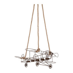 #N/A - Griffin I - Griffin I. rustic finish hanging plane with votive holders and rope hanger