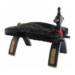 Vintage Camel Saddle Stool - A great black vintage camel saddle stool with black hide, embelished with brass.