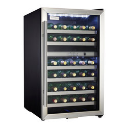 Danby - 38-Bottle Wine Cooler-Black Cabinet with Stainless Steel Door Frame - Stores up to 38 bottles of wine in two distinct, separately regulated temperature zones for red and white wine storage. Depending on your preference, the upper and lower temperature zones can be set for either white or red wine temperatures. Programmable temperature range of 39.2 degree F - 64.4 degree F (4 degree C - 18 degree C). Two white LED interior lights beautifully showcase the wine without the heat of an incandescent bulb. The white LED thermostat is easily viewed through the door. New stainless steel towel bar style handle adds a stylish touch. Stainless steel trimmed black wood shelves match the stainless steel exterior door. Convenient reversible door swing for left or right hand opening. The tempered dotted glass helps protect the wine from harmful UV rays.