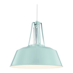 Feiss Lighting Freemont Hi Gloss Blue Pendant Light with Bowl / Dome Shade -