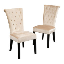 Great Deal Furniture - Paulina Dining Chairs (Set of 2), Champagne Velvet - The Paulina dining chair provides style and elegance to any room. The sturdy construction and soft material will have you and your guests sitting in luxury. Use as a dining chair or as accent chairs in any room or office.