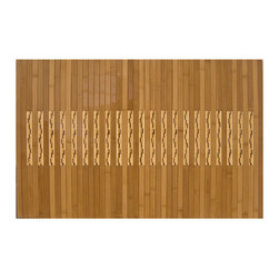 "Anji Bamboo Kitchen & Bath Mat 24"" x 36"" - Produced from 100% eco-friendly bamboo from the Anji Mountains, this mat feels warm under bare feet in winter and cool in summer. With a unique inlay design inspired by natural contrasting bamboo tones, this mat will bring the beauty of nature into your kitchen or bath. The high-gloss polyurethane finish is both beautiful and durable and a non-skid rubber backing keeps the mat in place.  Dimensions: 24 x 36"