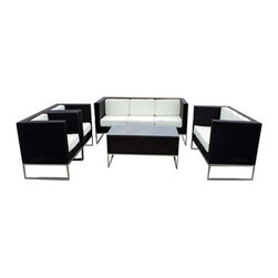 Milan Direct - Marlborough - 5pc Wicker Lounge Set - The Wicker 4pc Set  Relax in style with Milan Direct outdoor furniture  Main Features:   Great Conversation Set  Solid Aluminium Frame  Water Repellant & Weatherproof