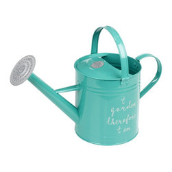 """Aqua Watering Can - The traditional watering can gets a philosophical boost with this Aqua Watering Can. Made from galvanized steel in a cool spring color finish and inscribed with the text """"I garden, therefore I am,"""" the can's watering rose can be removed for a more direct flow. Go ahead and give your thirsty plants a drink."""