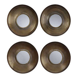 Uttermost Tondela Round Mirrors Set/4 - Concave metal disk with a rippled textured finished in an antiqued golden bronze with a light gray wash. Concave metal disk with a rippled, textured finish in an antiqued, golden bronze with a light gray wash.