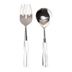 Crystal/Silver Salad Server Set - There is about the Crystal/Silver Salad Server Set a wonderful lightness, a sophisticated airiness. When placed amidst your tablescape, the set beautifully complements dinnerware of any hue, imparting a simple and refined elegance whether the occasion is a formal fete, an impromptu gathering of friends, or a holiday celebration.